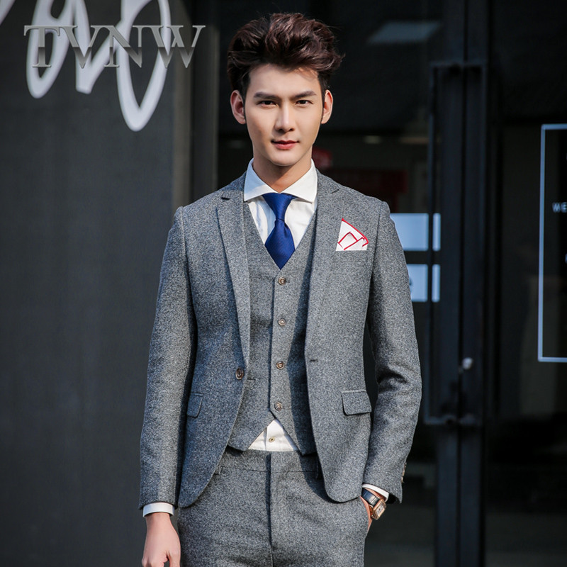 Tvnw new 2016 korean version of a solid color men's business suits men slim groom wedding dress suit 6580