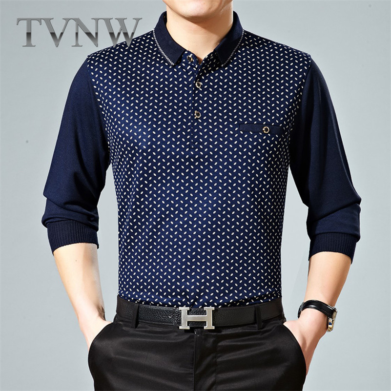 Tvnw new long loose iron middle-aged father loaded big yards and comfortable t-shirt double collar business men 4734