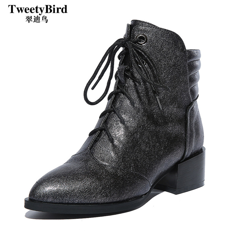 Tweety bird 2016 autumn korean street fashion trend pointed front lace solid thick with ms. martin boots