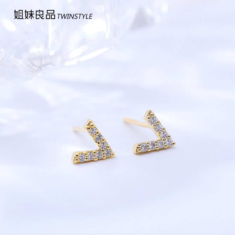 Twinstyle/sisters yield v-shaped letter earrings korean wild korean version of the micro pave cz earrings jewelry female