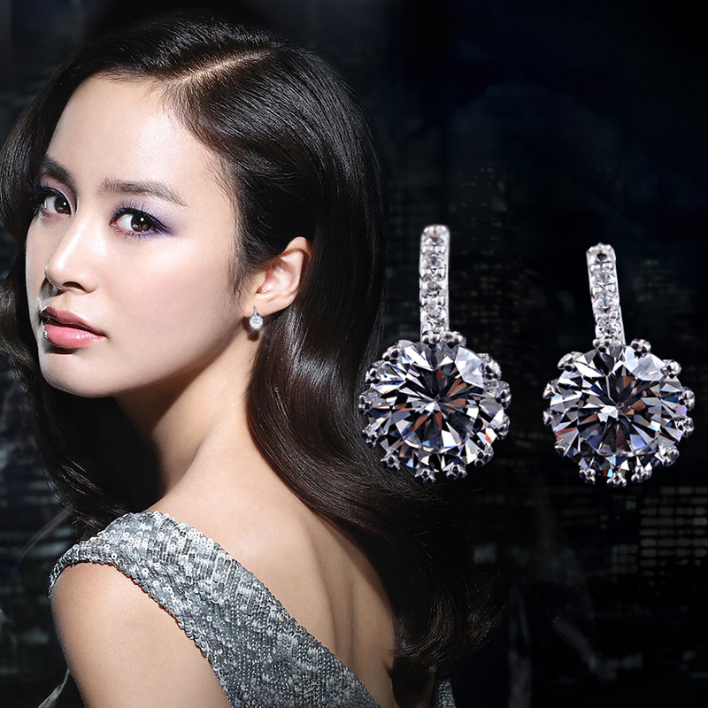 Get Quotations Twinstyle925 Silver Super Flash Zircon Earrings Temperament Female South Korean Jane About Wild Tide