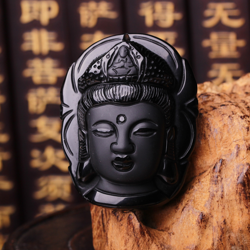 Ugyen natural obsidian jewelry guanyin head pendant jewelry pendant 2016 year of the monkey natal pendant free shipping