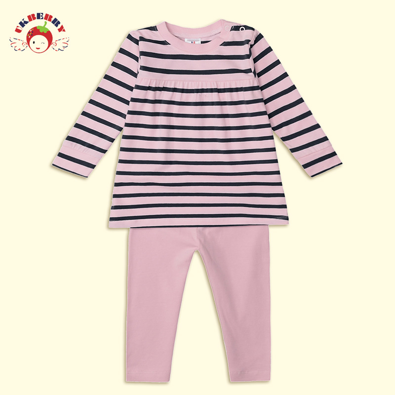 Ukberry girls spring clothing cotton long sleeve striped cotton baby suit long sleeve bottoming piece