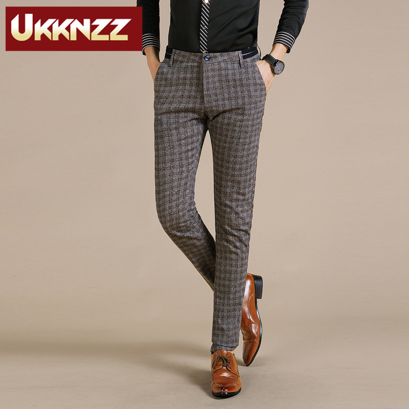 Ukknzz new custom 2016 spring models was thin fashion casual pants trousers korean slim men men's plaid