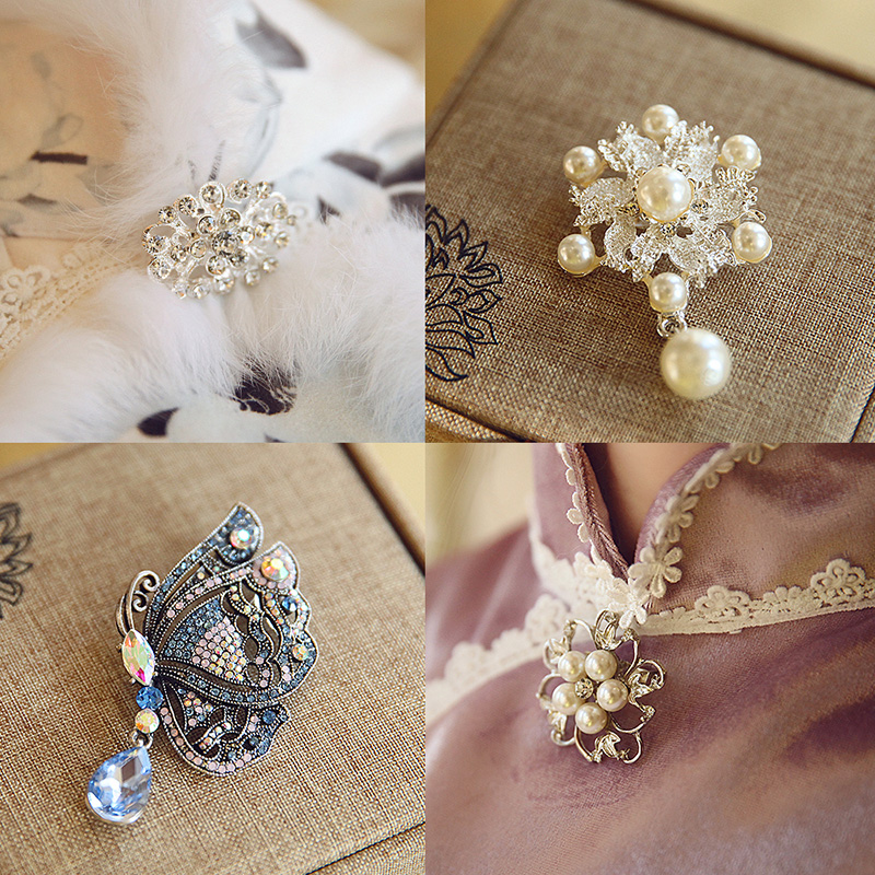Under the old fashion accessories diamond pearl brooch pankou
