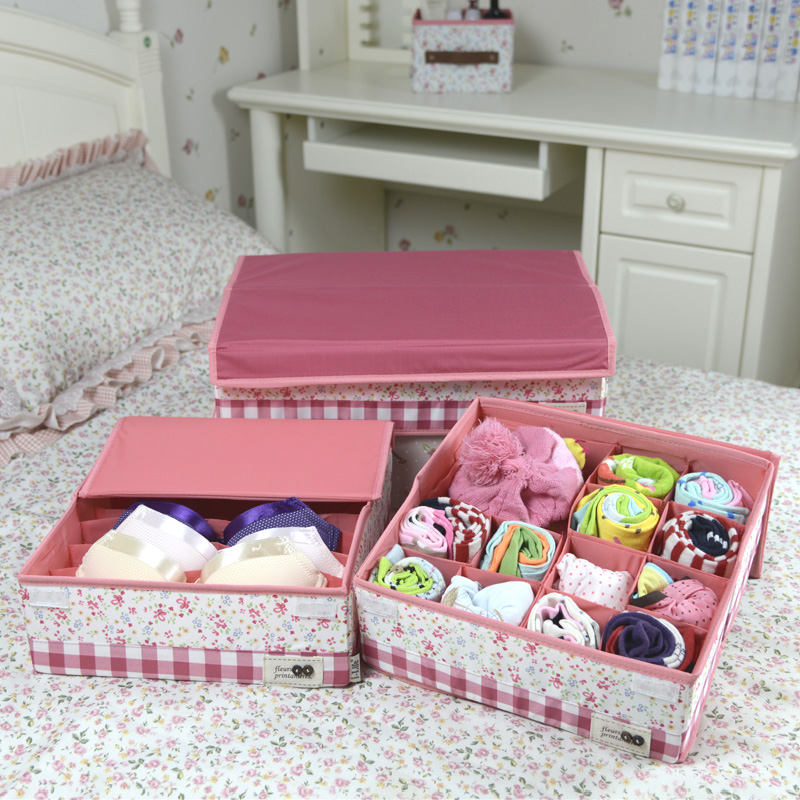 Underwear socks underwear storage box 24 grid 16 grid underwear box finishing box covered underwear storage box cloth