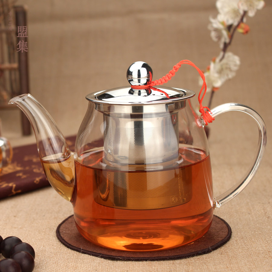 Union set tea bubble tea sets can be heated glass teapot filter cup elegant glass cup stainless steel liner