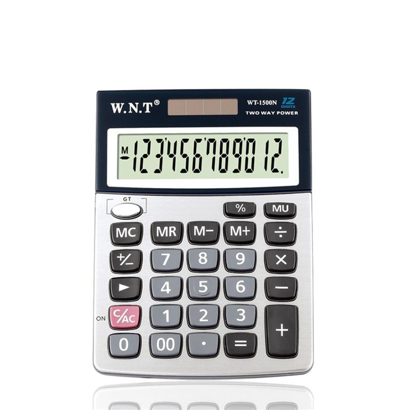 Universal pass WT-1500N 12 digit solar dual power big button computer desktop calculator with battery