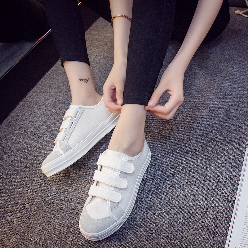 Universal summer new korean version of velcro canvas shoes female korean casual shoes to help low flat bottom shoes student shoes tide