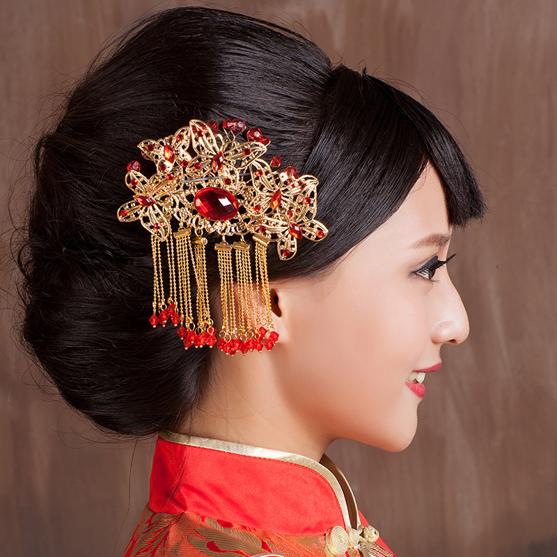 Unless you do not marry chinese red pearl rhinestone classical dish made hairpin head flower headdress wedding bridal hair accessories