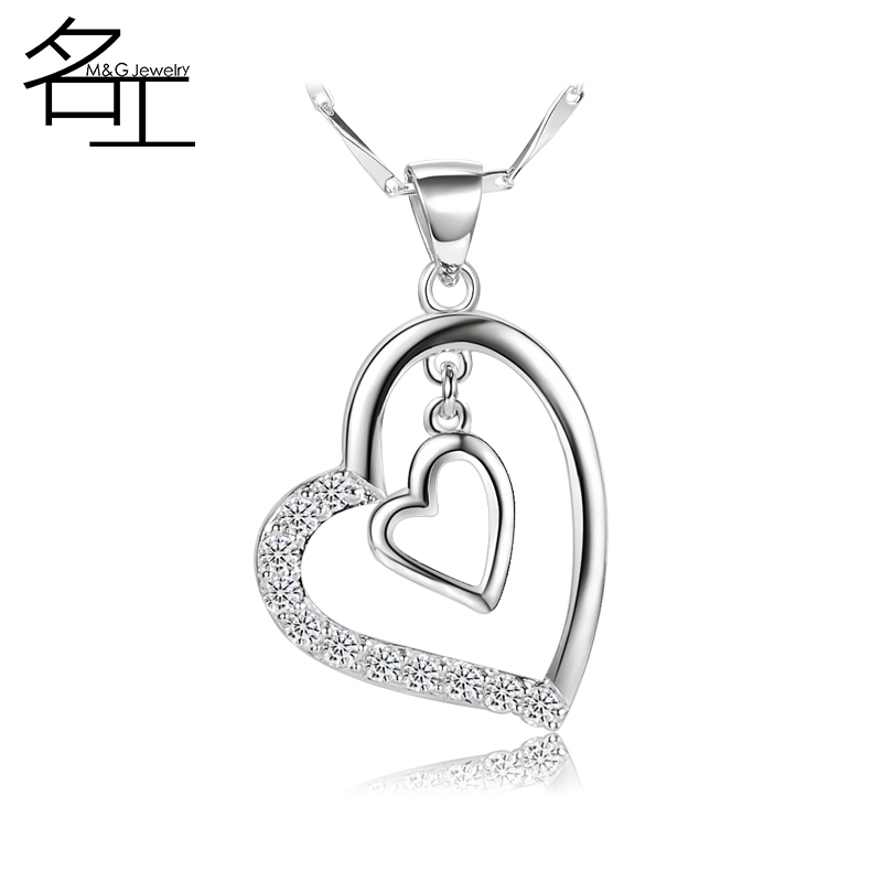 Up a korean version of love clavicle chain heart pendant s925 silver necklace female valentine's day jewelry gift korean wild