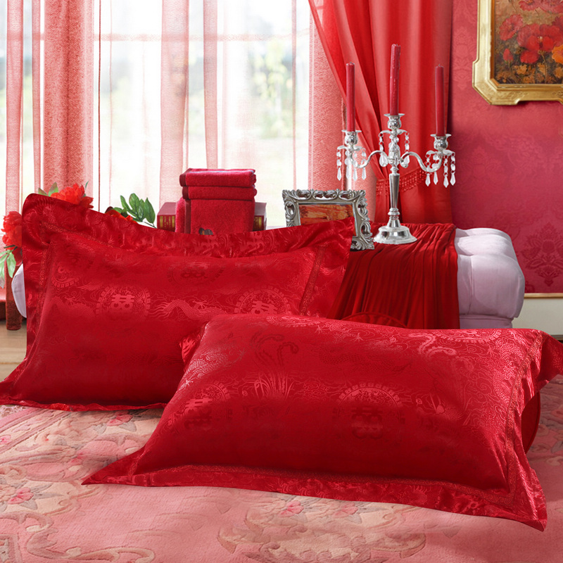 Up textile jacquard satin pillowcase double happiness dragon hi wedding bedding big red wedding pillowcase pillowcases
