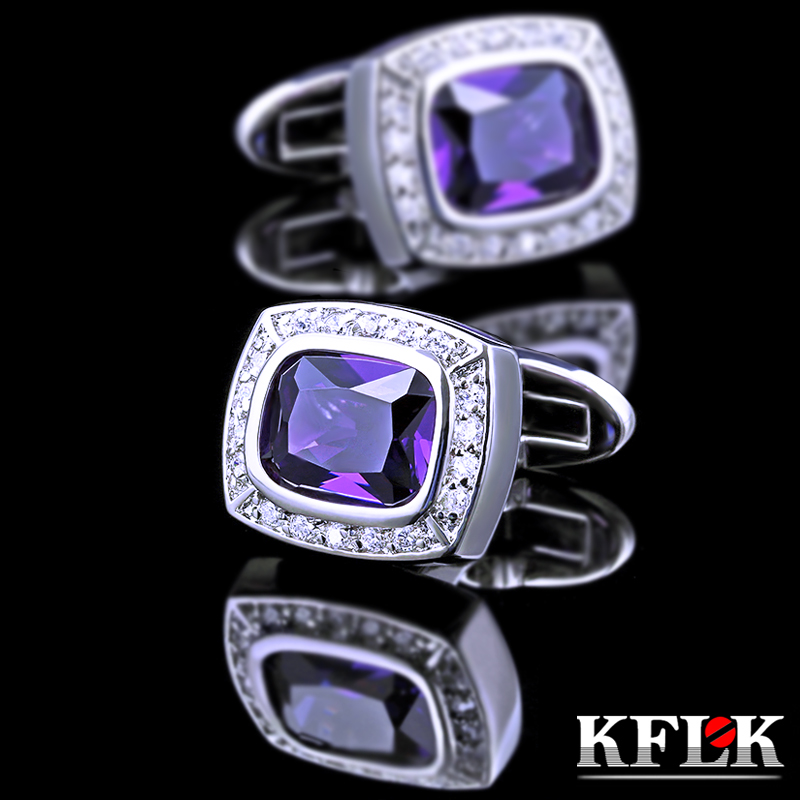 Upscale gift box kflk rhodium cufflinks french shirt cufflinks men's luxury purple zircon cufflinks nail