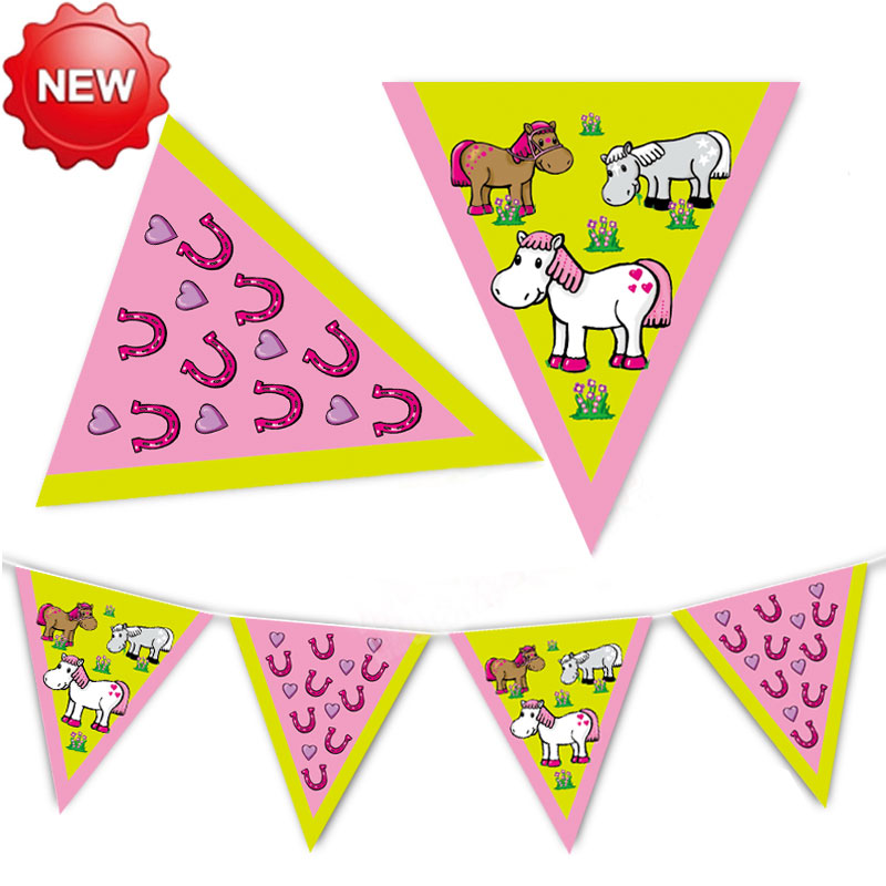 Urban party sided paper flags children birthday party banner pennant decoration natal zodiac year of the horse