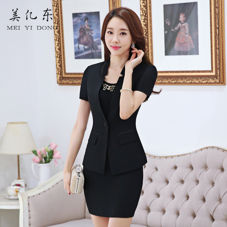 Us billion east career suits ladies skirt suits slim suits overalls interview ms. suit short sleeve spring and summer are installed