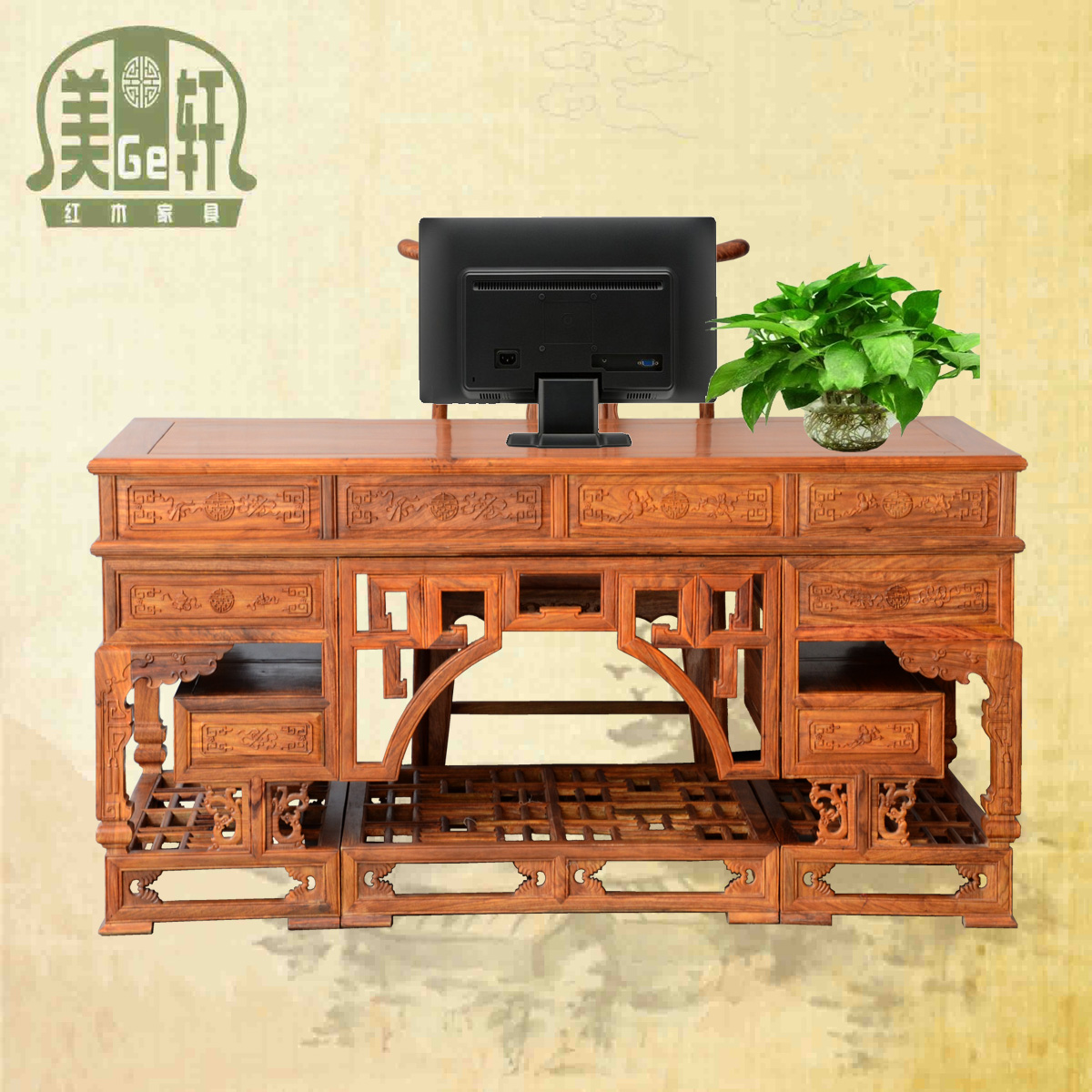 Us court xuan mahogany african pear wood computer desk desk desk boss desk desk desk desk