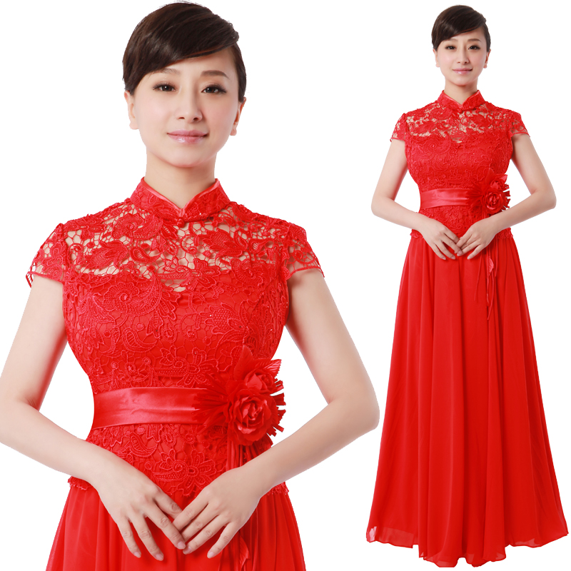 Us department of style red lace long section of the chorus costumes female chorus clothing stage performance clothing