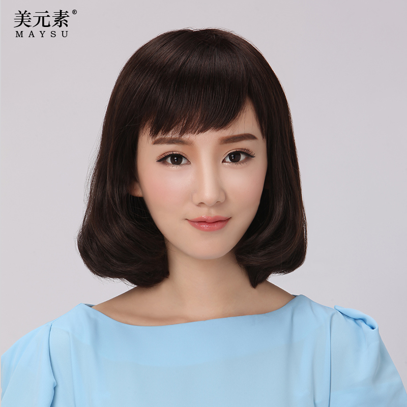 Us elements of real hair wig short hair female fashion long curly hair pear bobo wig entire top real hair