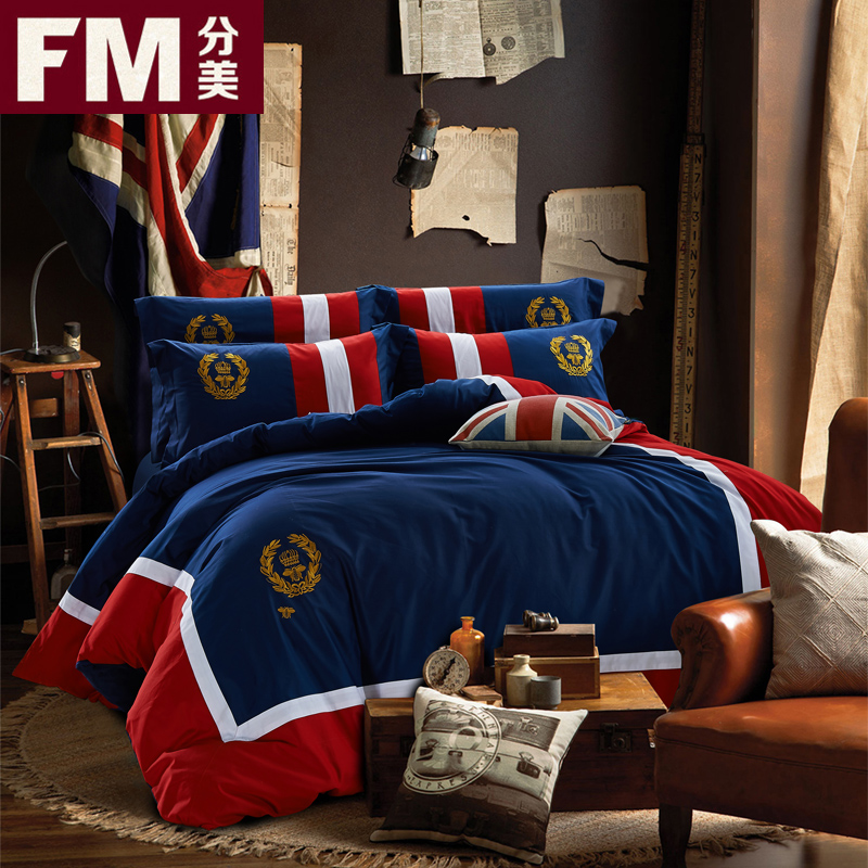 Us sub british personalized embroidered cotton satin cotton bedding a family of four bed 1.8m2.0 meters linen supplies