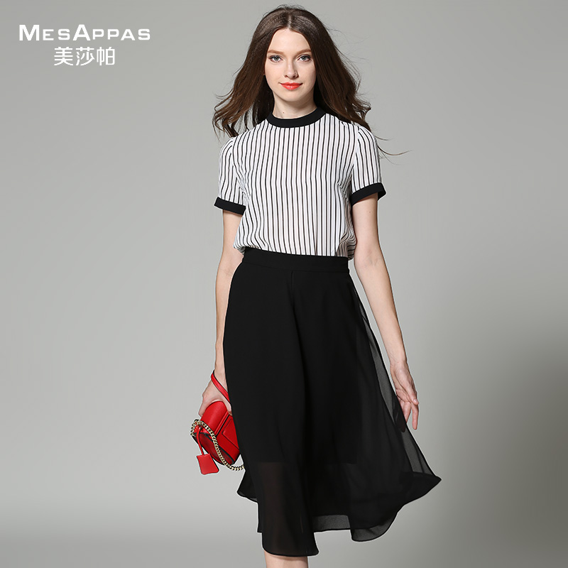 Us suopa brand 2016 summer models striped suit round neck slim hit the color black and white ride snow spinning solid color pleated skirt female