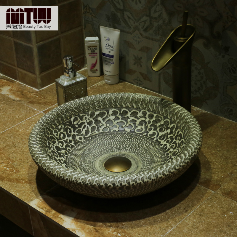Us tao bay european retro ceramic art basin wash basin counter basin wash basin wash knives carved high temperature ceramic basin