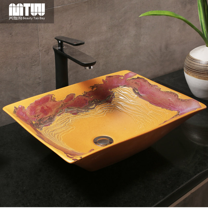 Us tao bay retro art basin ceramic basin wash basin counter basin simple chinese antique wash basin basin