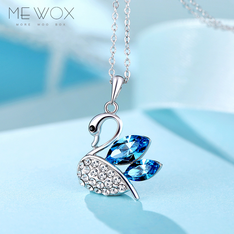 Us wal swarovski elements crystal 925 silver necklace female korean wild swan pendant clavicle chain