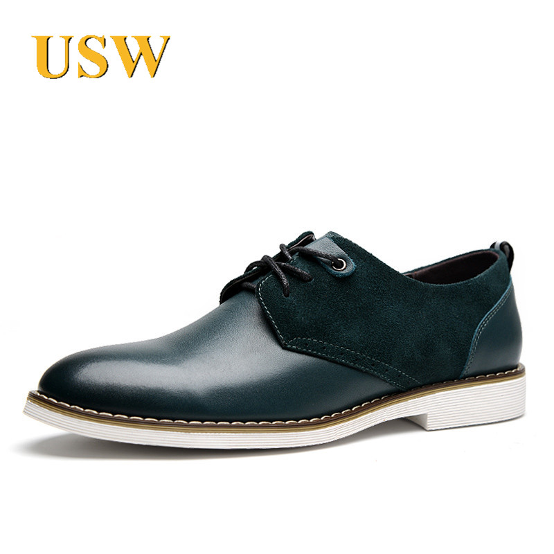 Usw custom 2016 spring new men's everyday casual shoes fashion trend lace round flat with solid color leather shoes