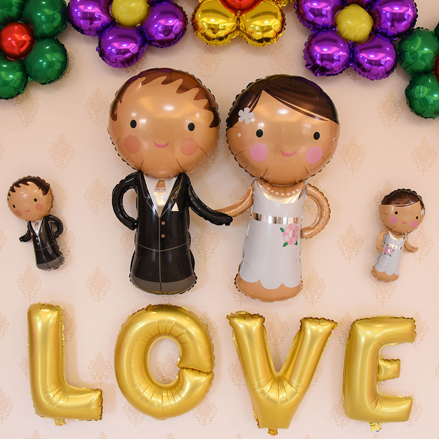 V54 â aluminum balloons foil balloons wedding marriage room layout wedding supplies wedding the bride and groom dolls