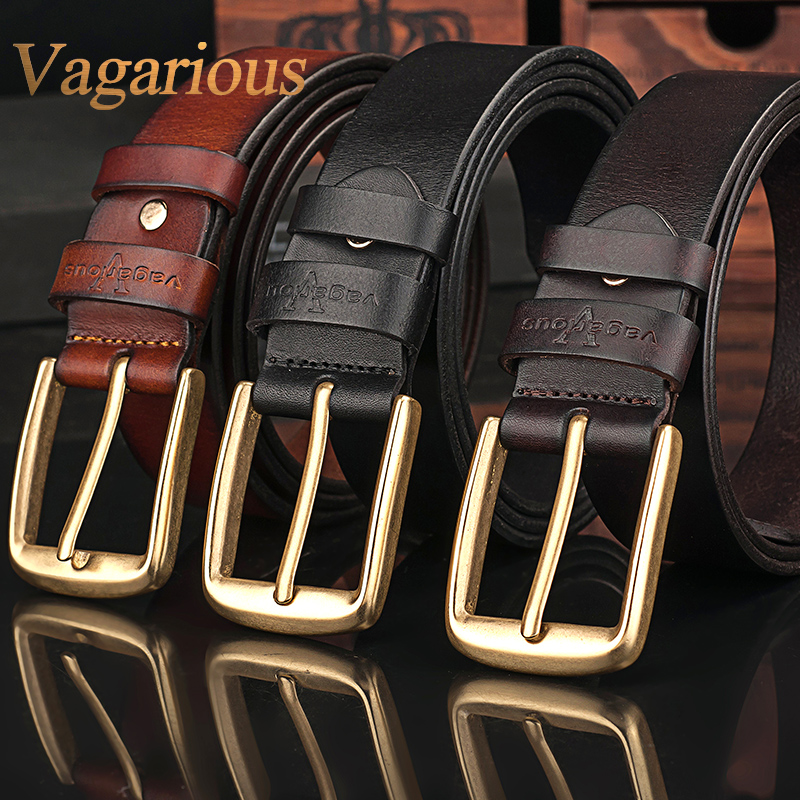 Vagarious buckle belt men's business casual leather first layer of leather cowboy belt buckle soft surface embossing