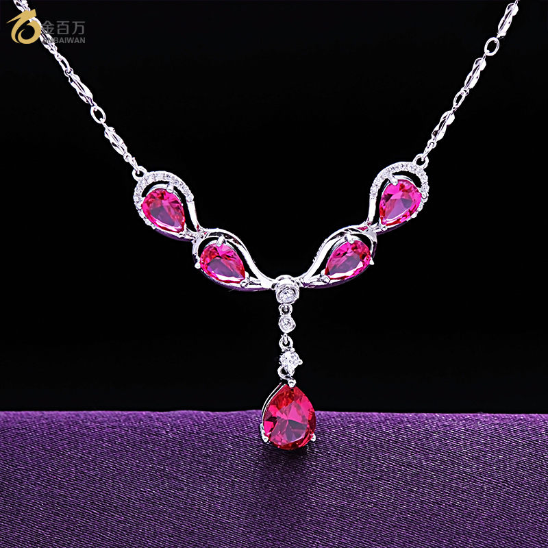 Valentines day gift 925 silver necklace female birthday gift ideas female red corundum ring jewelry family of four suits