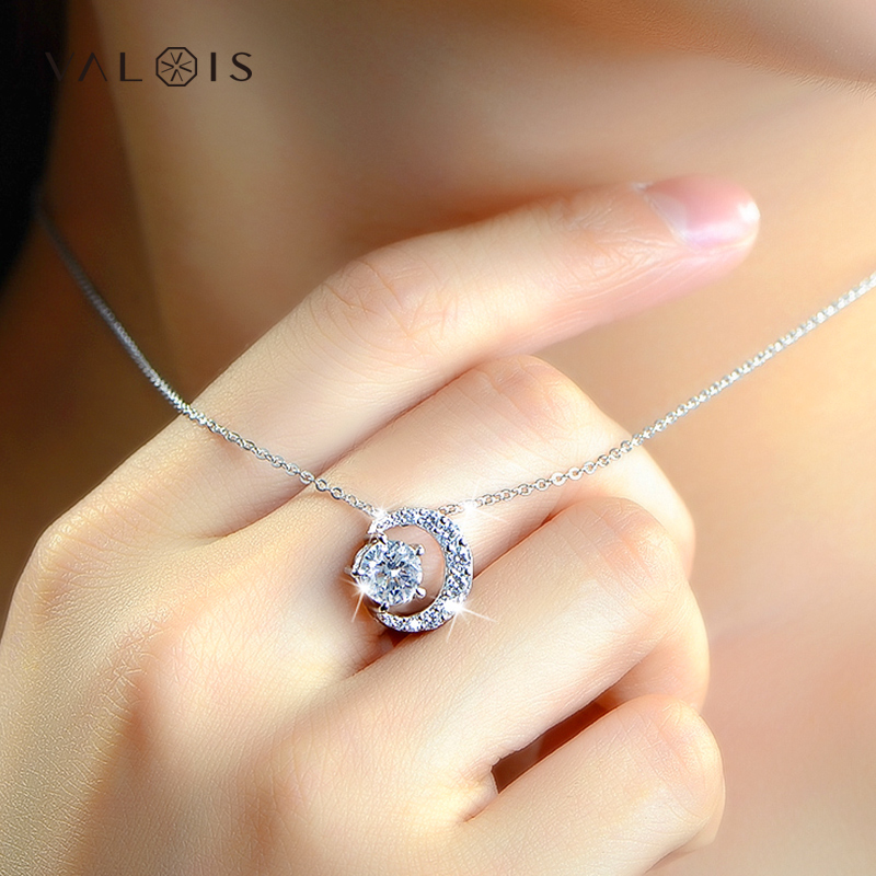 Valois studded with swarovski zircon 925 silver necklace female clavicle chain korean fashion simple decorative necklace v