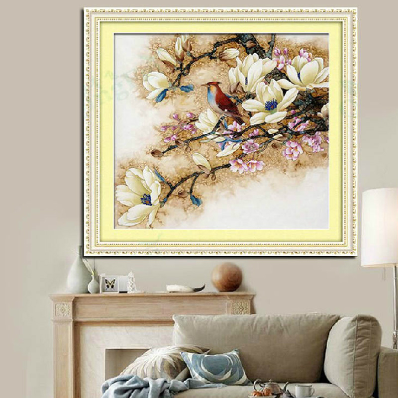 Van gogh painted apricot magnolia qing yun aromatic full precision printing embroidery stitch substantial new bedroom