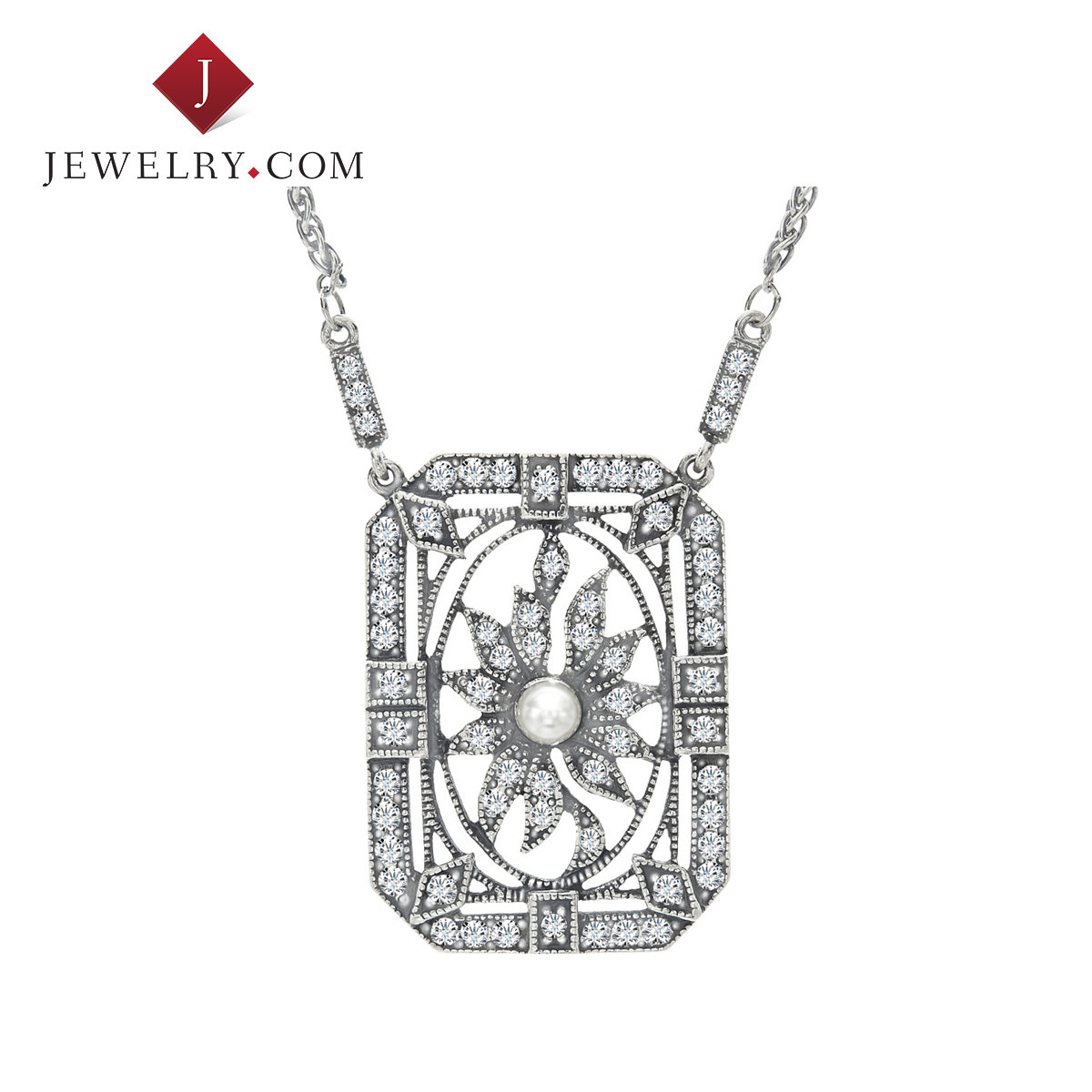 Van kempen hollow square pendant female models 925 silver swarovski crystal pearl jewelry charm