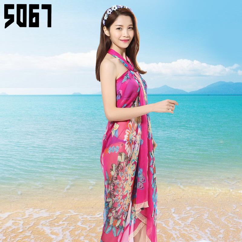 Variety scarf seaside summer chiffon oversized beach towel sunscreen shawl scarf printed scarves ms. spring wild