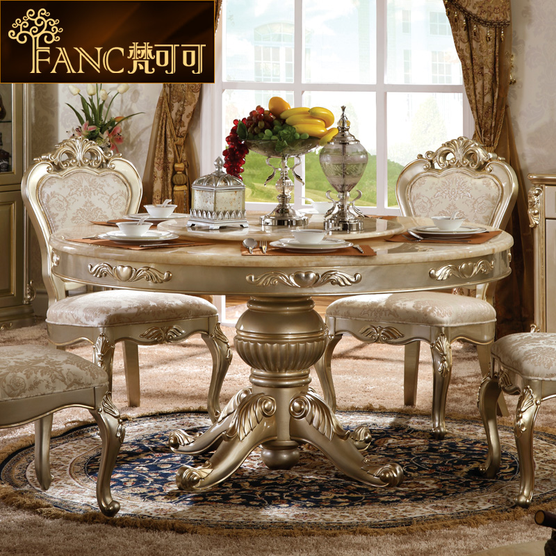 Vatican cocoa european villa furniture natural marble dining table dining tables and chairs combination of neoclassical french style round dining table