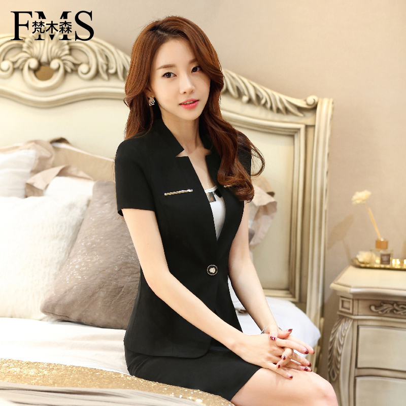 Vatican musen 2016 new summer short sleeve slim female fifth sleeve suit collar ladies wear work clothes