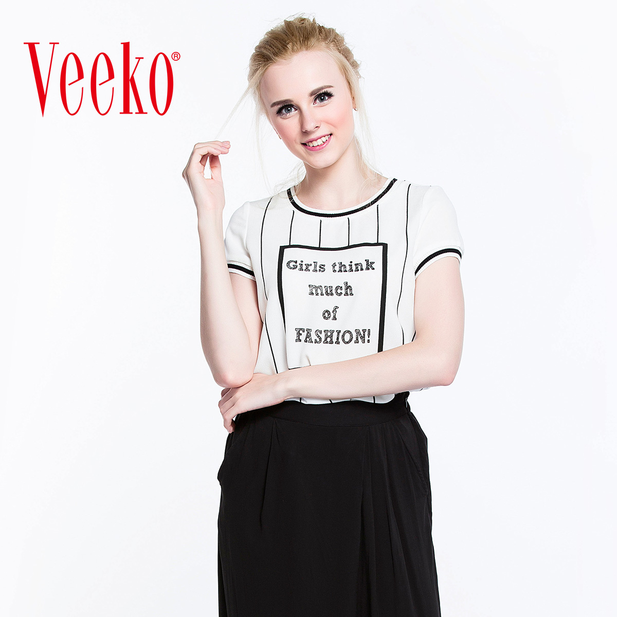 Veeko2016 summer new fashion casual striped shirt printing short sleeve t-shirt female summer thin wild
