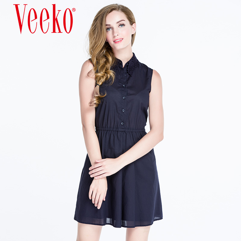 Veeko2016 summer new ladies casual fashion slim collar shirt style sleeveless summer dress a word