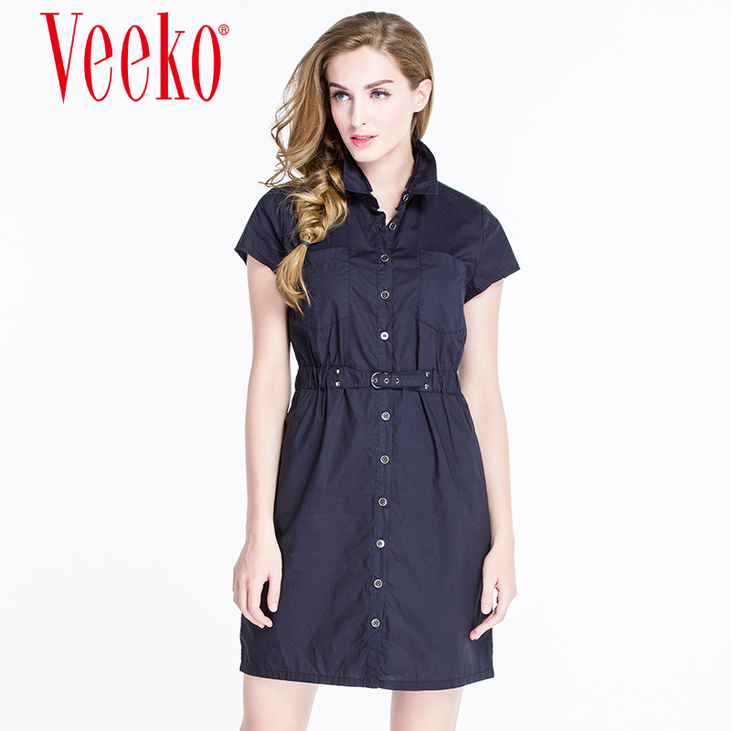Veeko2016 summer new simple and stylish casual style elastic waist slim short sleeve dress shirt summer