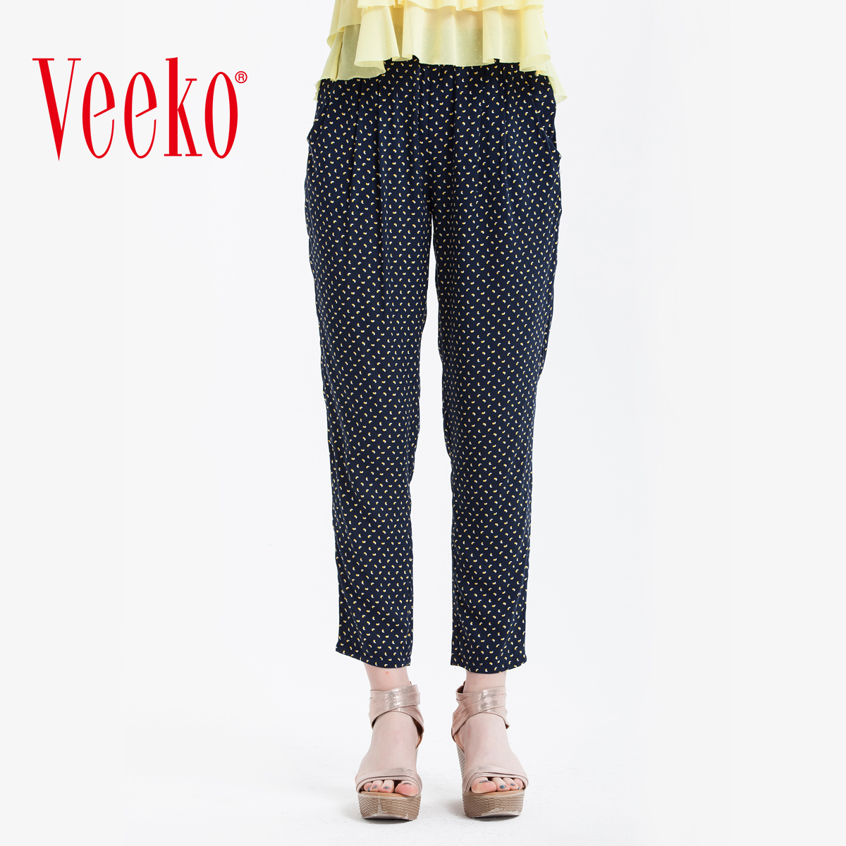 Veeko2016 summer new women's summer elastic waist pants casual pants women slim thin wild pencil pants
