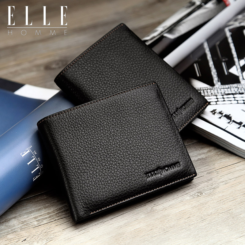 [Vertical section] offline elle same paragraph short paragraph wallet money header layer cowhide leather men's wallet business wallet soft surface