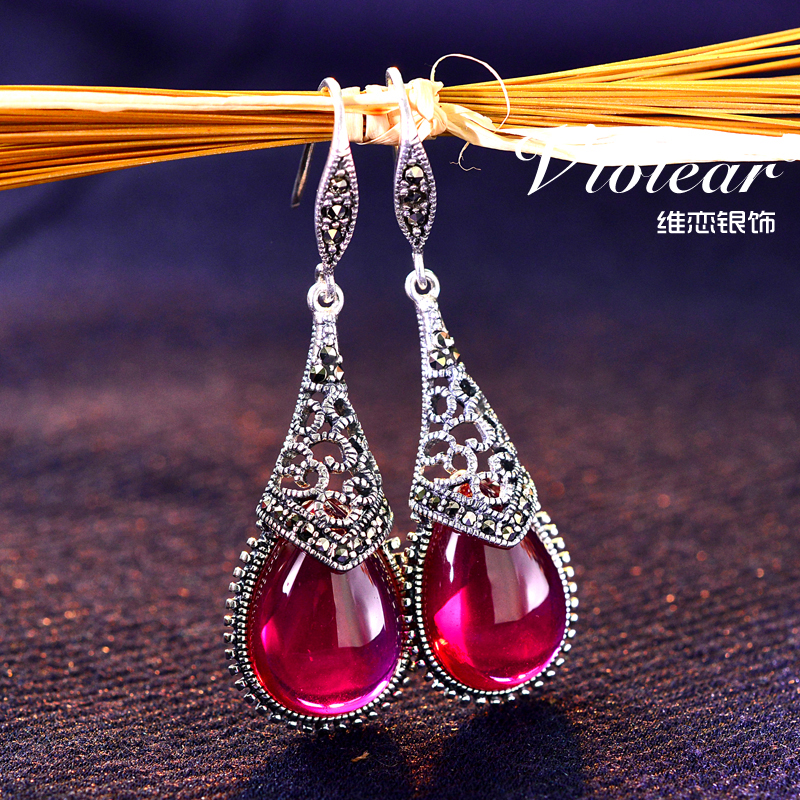 Victoria love retro handmade thai silver earrings 925 silver jewelry red corundum gemstone exaggerated fashion tassel earrings big earrings