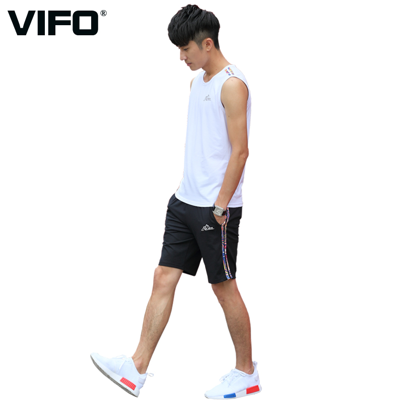 Vifo summer sportswear suit male cotton sleeveless vest shorts leisure sports suit running fitness clothing