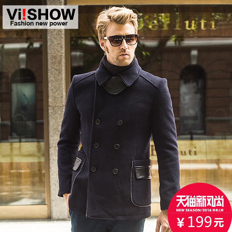 Viishow slim double-breasted wool coat male british men's wool coat woolen coat male european and american style