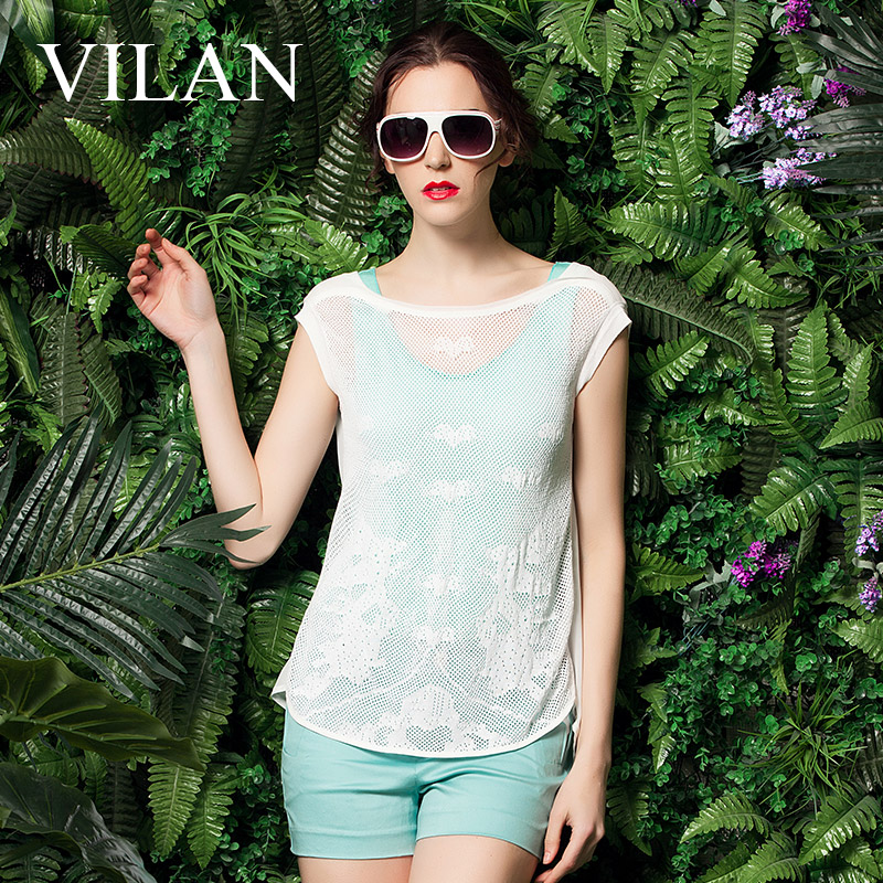Vilan/huilan huilan 2015 summer new authentic korean version of slim round neck was thin without sleeve t-shirt female
