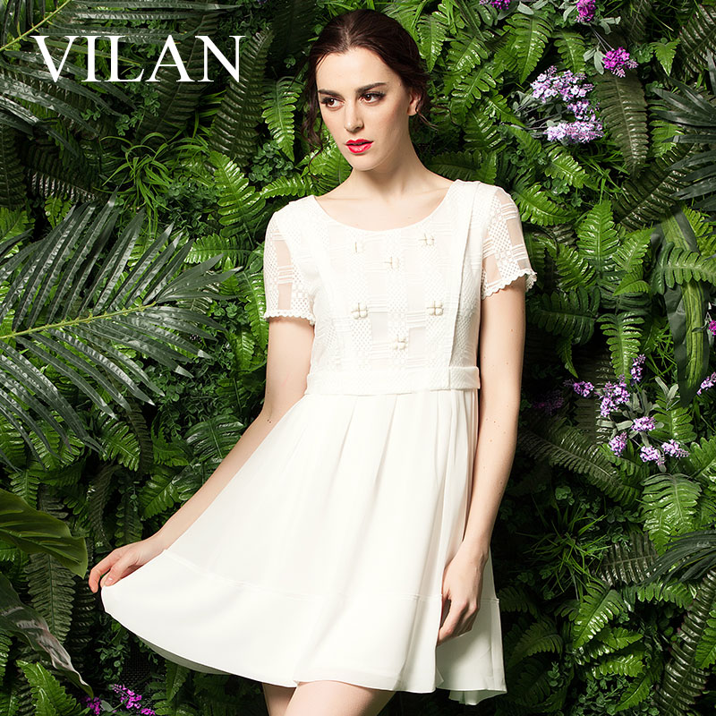 Vilan/huilan huilan 2015 summer new authentic korean version was thin waist beads snow spinning dress women