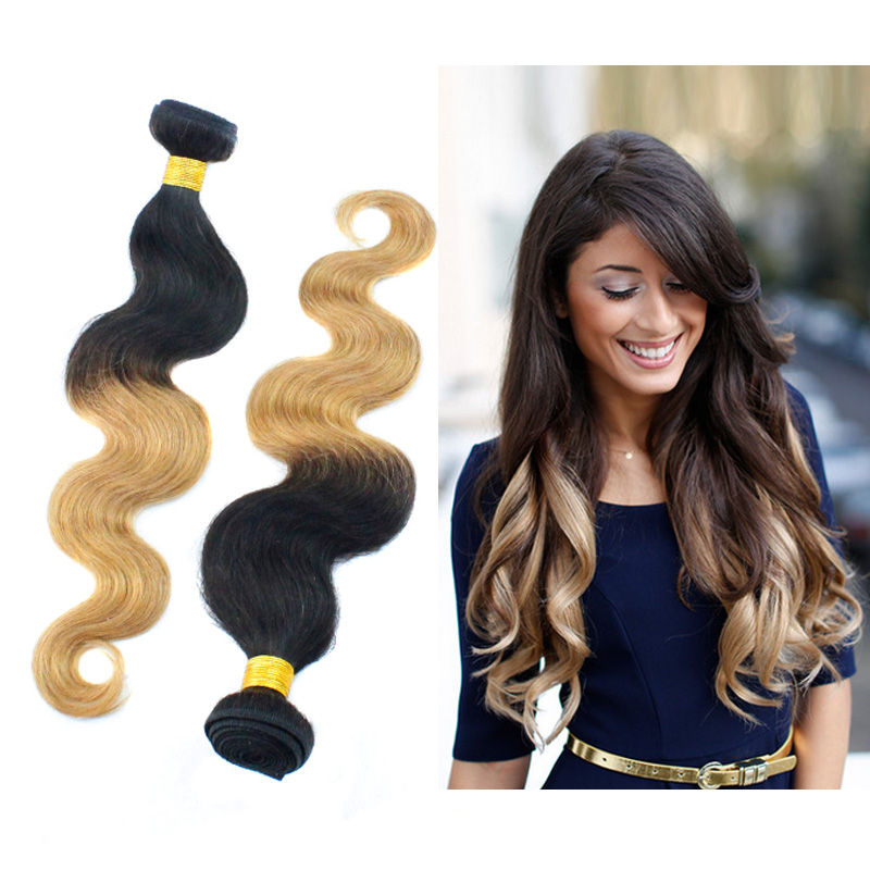 Virgin human hair body wave t1b # ombre brazilian human hair hair extensions 27 shipping