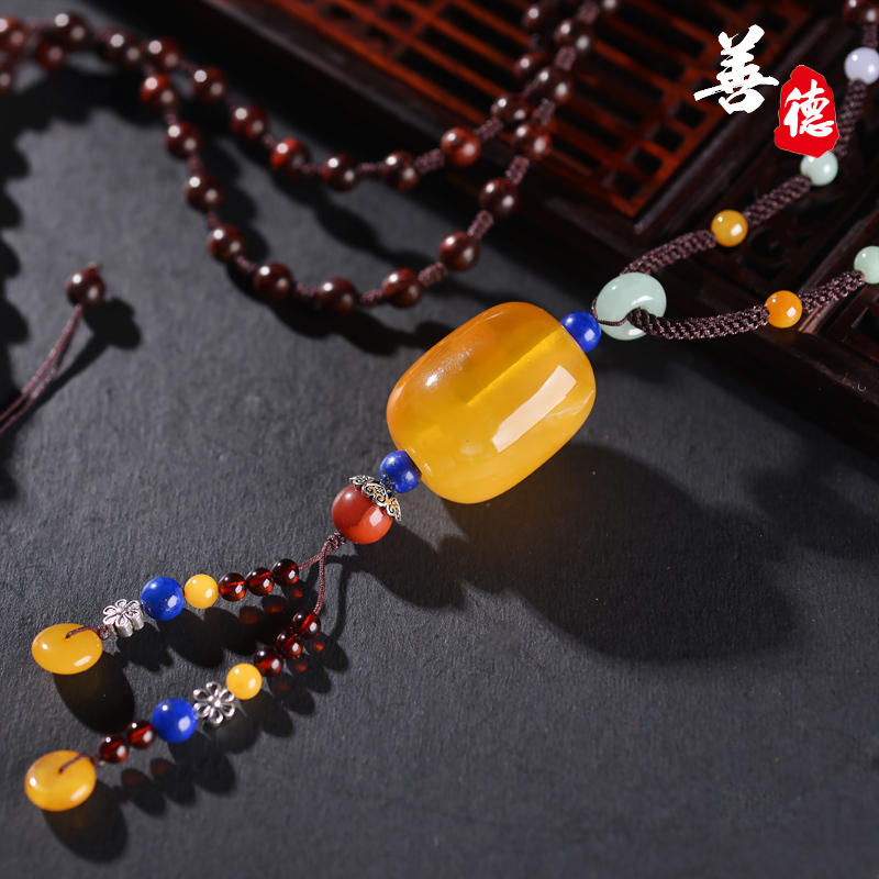Virtue natural beeswax amber beads vat half half honey amber pendant necklace sweater chain with beads diy