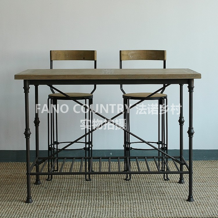 [Vista] haodian american retro wood to do the old coffee table bar tables tall bar chairs chairs starbucks